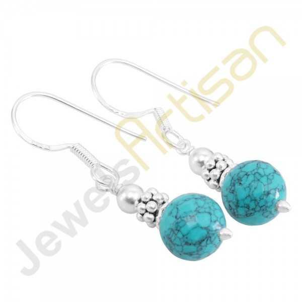 Turquoise Gemstone Handmade sterling silver Earrings