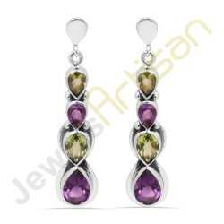 Purple Amethyst and Peridot Multigemstone Handmade sterling silver Earrings
