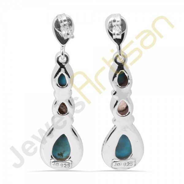 Arizona King's man Turquoise Multigemstone Handmade sterling silver Earrings