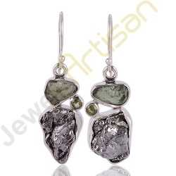Meteorite, Moldavite and Peridot Multigemstone Handmade sterling silver Earrings