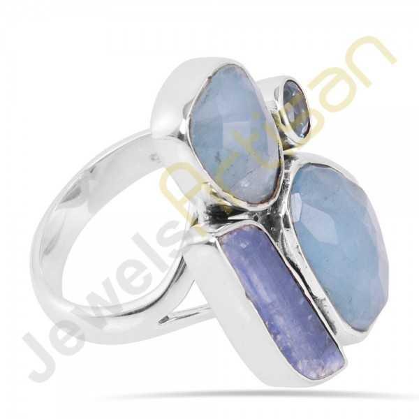 Natural Aquamarine Kyanite and Blue Topaz Multigemstone Solid Sterling Silver Ring