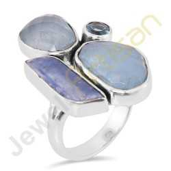 Natural Aquamarine Kyanite and Blue Topaz Multigemstone Solid Sterling Silver Ring