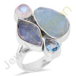 Natural Aquamarine Multigemstone Solid Sterling Silver Ring