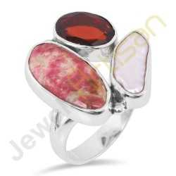 Tulite Jasper Garnet and Pearl Gemstone Solid Sterling Silver Ring