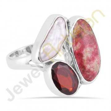 Tulite Jasper Garnet and Pearl Gemstone Solid Sterling Silver Ring