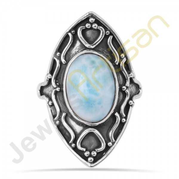 Larimar Gemstone Designer Sterling Silver Ring