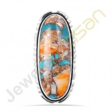 orange Spineoyester turquoise sterling silver ring