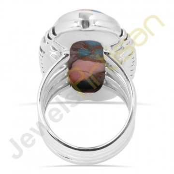 Spineoyester turquoise sterling silver ring