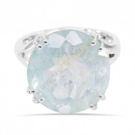 Natural Aquamarine Gemstone Solid Sterling Silver Ring