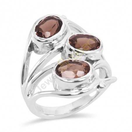 Smoky Quartz Gemstone 925 Sterling Silver Ring