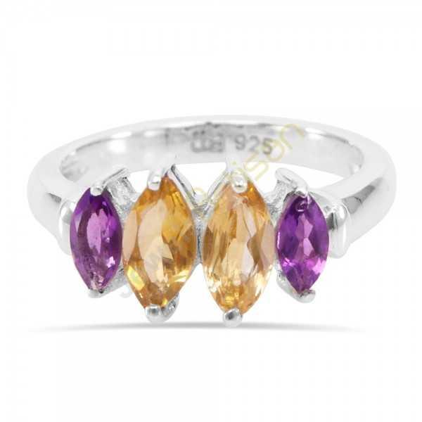 Amethyst and Citrine Gemstone 925 Sterling Silver Ring