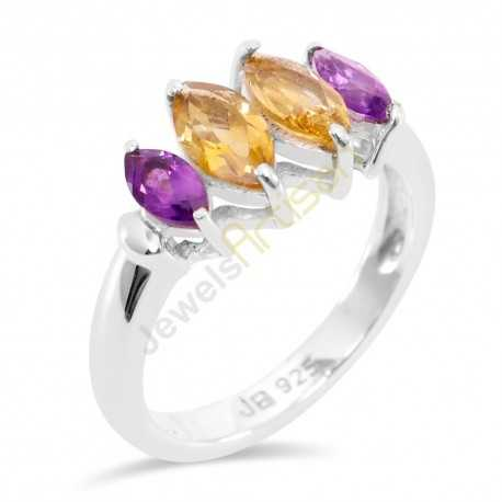 Amethyst and Citrine Gemstone 925 Sterling Silver Ring