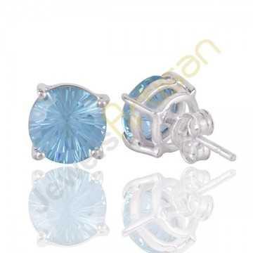 Blue Topaz Gemstone Stud Sterling Silver Stud Earrings