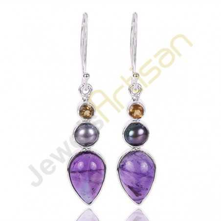 Amethyst, Citrine and Color Pearl Gemstone 925 Sterling Silver Earring