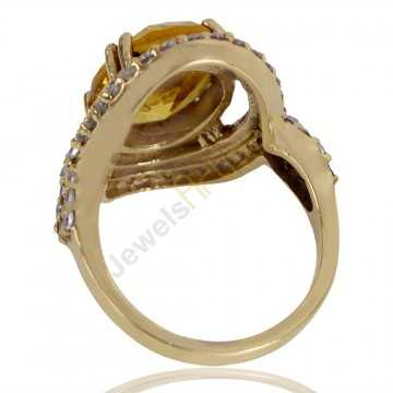 Yellow Gemstone and White Cubic Zirconia Gold Plated Fashion Ring