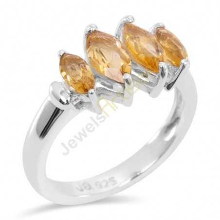 Sterling Silver Citrine Gemstone Ring