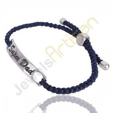 Lapis Lazuli Gesmtone Super Dad 925 Sterling Silver Cord Bracelet