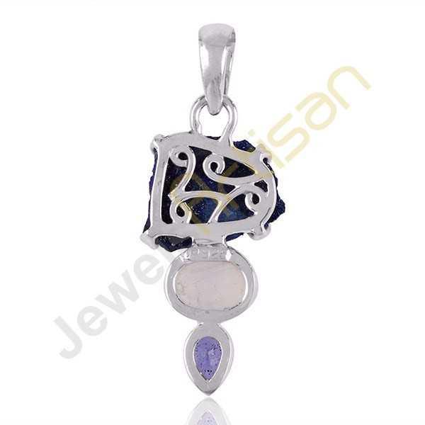 Azurite Druzy Iolite and Rainbow Moonstone Sterling Silver Pendant