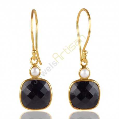 Black Onyx And Pearl Gemstone Sterling Silver Gold Vermeil Earring