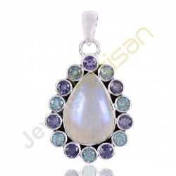 Iolite Rainbow Moonstone And Swiss Blue Topaz Gemstone 925 Sterling Silver Pendants