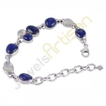 Rainbow Moonstone And Lapis Gemstone 925 Sterling Silver Bracelet