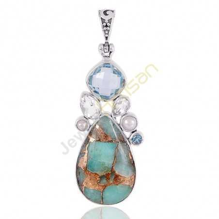 Amazonite Copper Turquoise, Blue Topaz, Crystal, Pearl Multigemstone 925 Sterling Silver Pendant