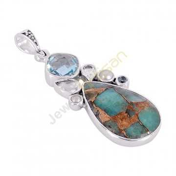 Amanzonite Turquoise, Blue Topaz, Crystal, Pearl Multigemstone 925 Sterling Silver Pendant