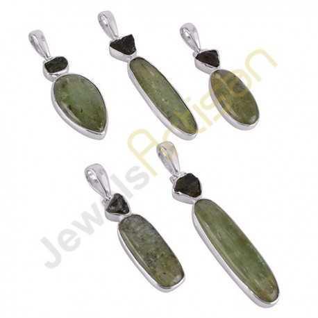 Natural Raw Moldavite Pendant, Green Kyanite Pendant, Sterling Silver Handmade Pendant