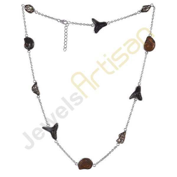 Meteorite Ammonite Shark Teeth Fossile Gemstone 925 Silver 24 inch Necklace