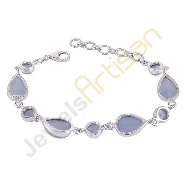 Natural Chalcedony 925 Solid Sterling Silver link Bracelet