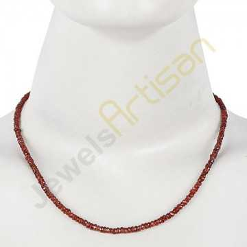 Garnet Beads Necklace Sterling Silver 18 Inch Adjustable Beads Necklace