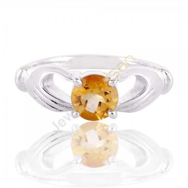 Citrine Gemstone 925 Sterling Silver Handmade Ring, Solitaire Citrine Rings for Women