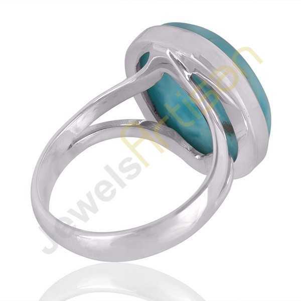 AAA Quality Larimar Gemstone Solid 925 Sterling Silver Handmade Solitair Rings