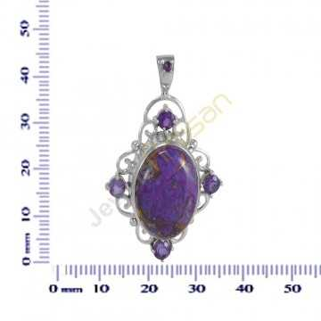 Amethyst And Purple Copper Turquoise Gemstone 925 Sterling Silver Pendant