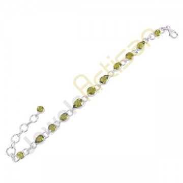 Natural Peridot Gemstone Solid 925 Sterling Silver Link Bracelet, Handmade Bracelet