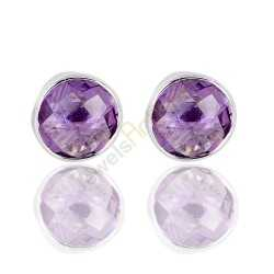 Natural Purple Amethyst Gemstone 925 Sterling Silver Stud Earrings.