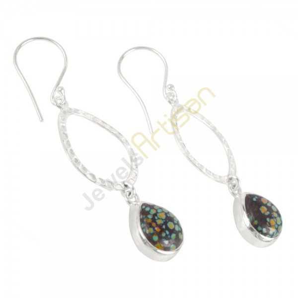 Tibetan Turquoise Gemstone 925 Sterling Sliver Dangle Drop Earring