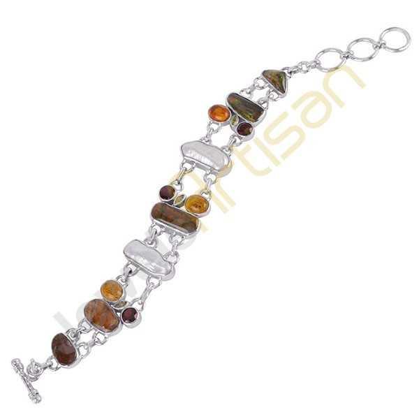 Amber Ammonite Garnet Peridot And Pearl Gemstone 925 Sterling Silver Bracelet