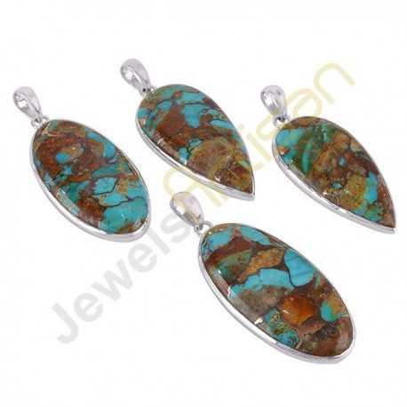 Boulder Turquoise 925 Sterling Silver Handmade Pendant Necklace