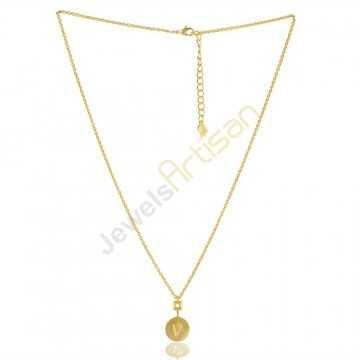 Alphabet Necklaces V Charm Necklaces Brass Necklace Pendant