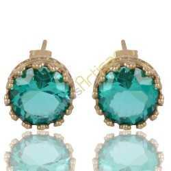 Green Quartz Gold Plated Fashion Designer Stud Earring
