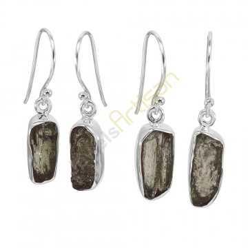 Certified Moldavite Gemstone Silver Dangling Earring Raw Moldavite Gemstone Earring