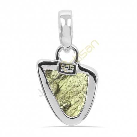 Certified Moldavite Pendant Natural Molavite Sterling Silver Pendant for Him and Her