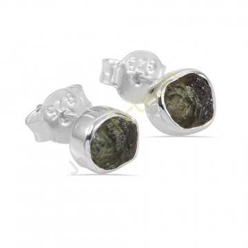 Certified Moldavite Gemstone Silver Stud Earring Raw Moldavite Gemstone Earring
