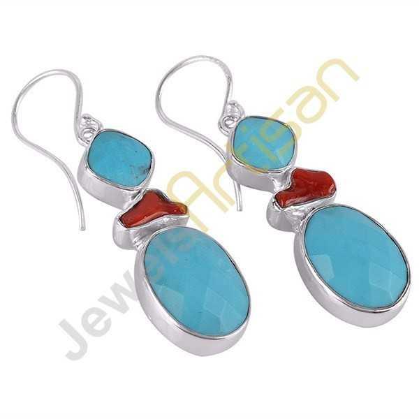 Arizona Turquoise Earrings Coral Earrings Sterling Silver Dangle Earrings Handmade Earrings