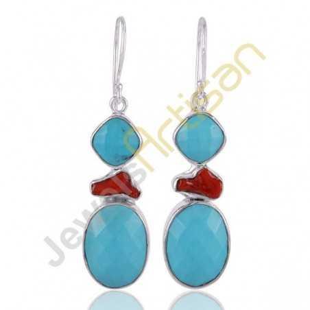 Arizona Turquoise Earrings Coral Earrings Handmade Sterling Silver Dangle Earrings