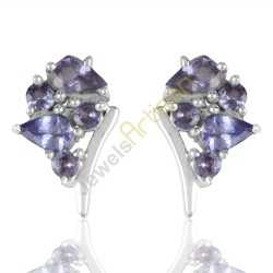 Tanzanite Stud Earrings 5 Stone Tanzanite And 925 Solid Sterling Silver Earrings