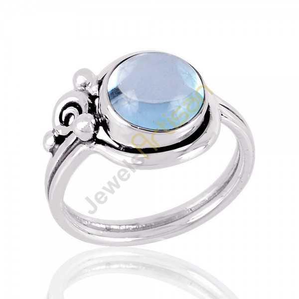 Blue Topaz Ring Cabochon Blue Topaz 925 Sterling Silver Handmade Ring