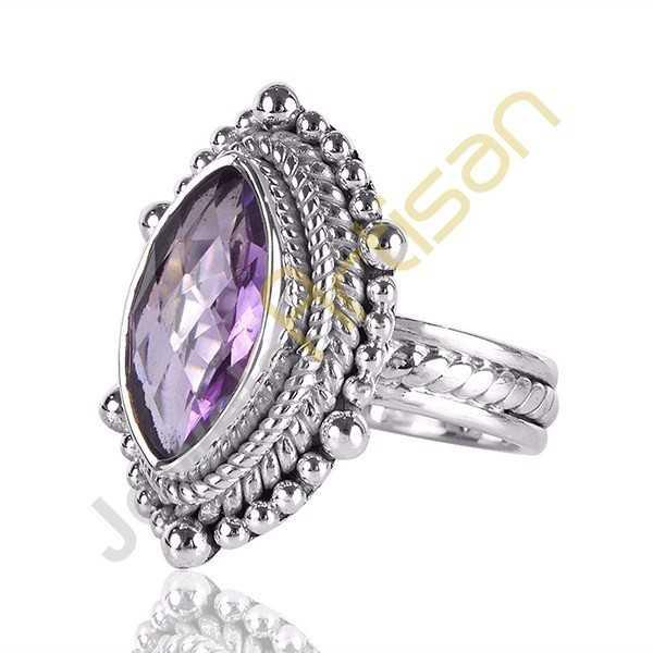 Amethyst Ring Marquise Amethyst Gemstone Sterling Silver Handmade Ring