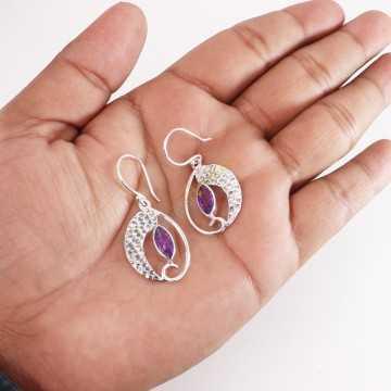 Amethyst Earring Handmade 925 Sterling Silver Dangle Drop Earring